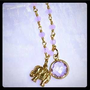 Lucky Elephant Pink Tourmaline Necklace